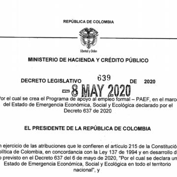 Decreto 639 del 8 de mayo de 2020